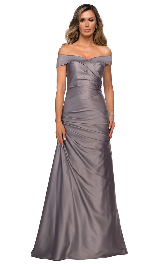 La Femme - 28103 Off-Shoulder Ruched Fitted Bodice Satin Evening Dress In Silver & Gray