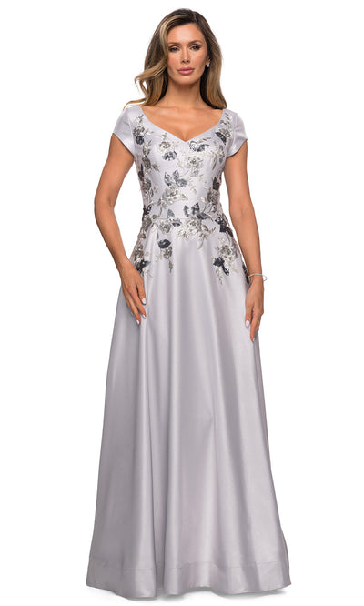 La Femme - 28105 Floral V Neck A-Line Long Dress In Silver and Gray