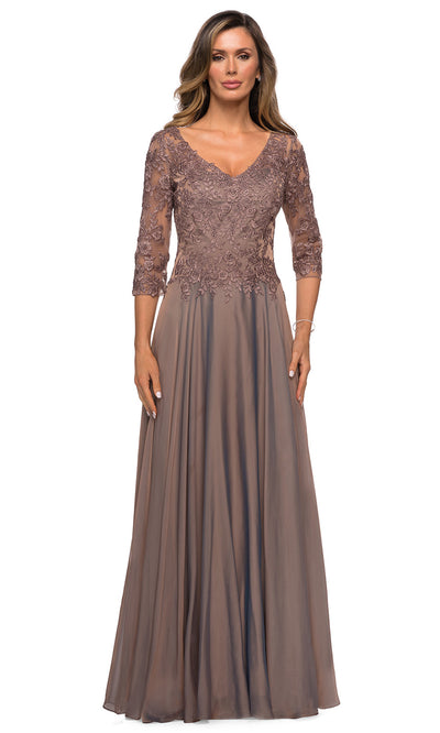 La Femme - 28106 Quarter Sleeve Embroidered Lace Bodice A-Line Dress In Brown