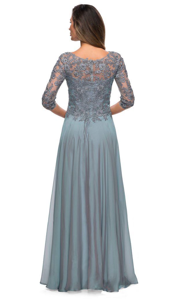 La Femme - 28106 Quarter Sleeve Embroidered Lace Bodice A-Line Dress In Blue