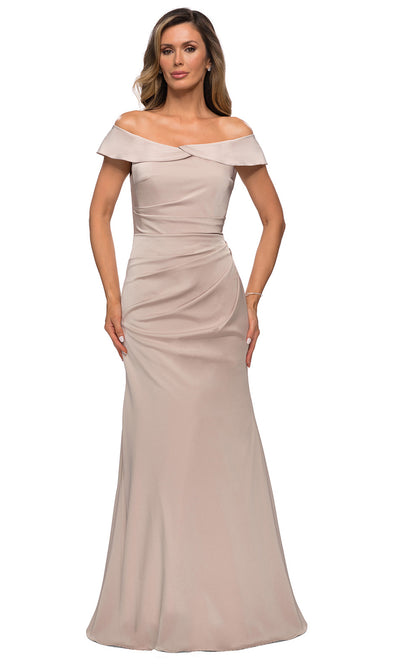 La Femme - 28110 Draped Off Shoulder Long Dress In Champagne & Gold