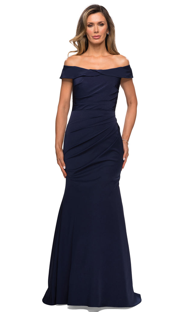 La Femme - 28110 Draped Off Shoulder Long Dress In Blue