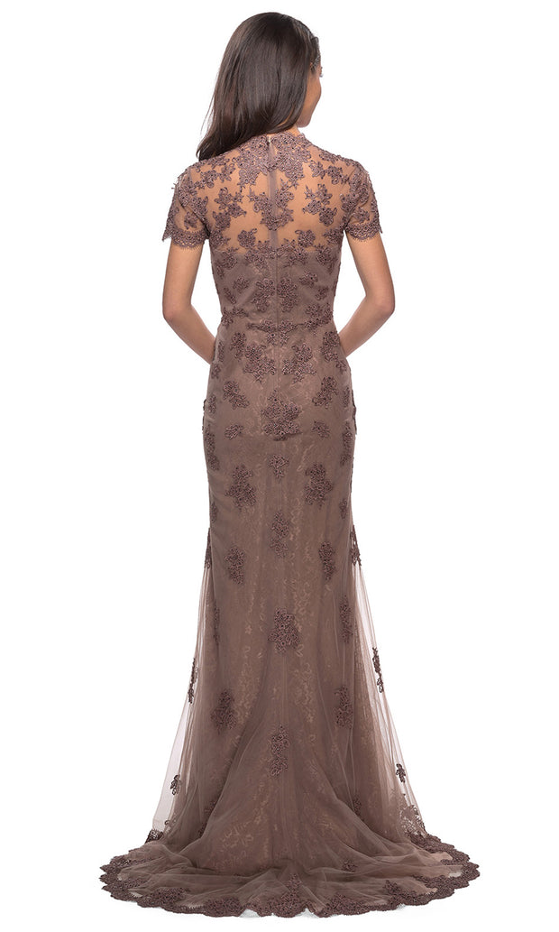 La Femme - 28195 Short Sleeve Embroidered Scallop Lace Dress In Brown