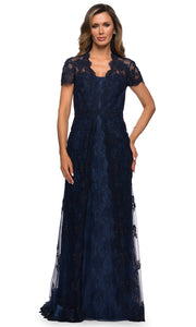 La Femme - 28195 Short Sleeve Embroidered Scallop Lace Dress In Blue