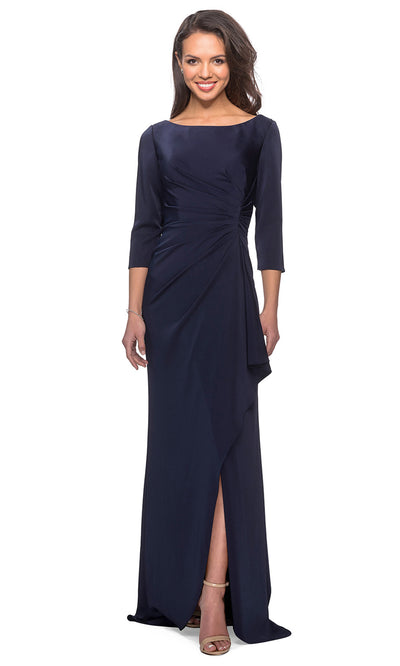 La Femme - 28197 Bateau Jersey Fitted Dress In Blue
