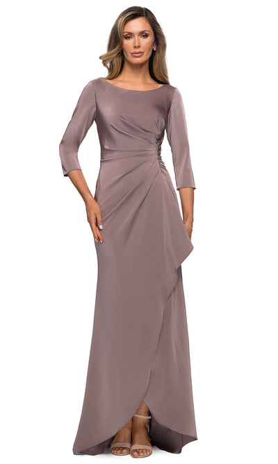 La Femme - 28197 Bateau Jersey Fitted Dress In Gray