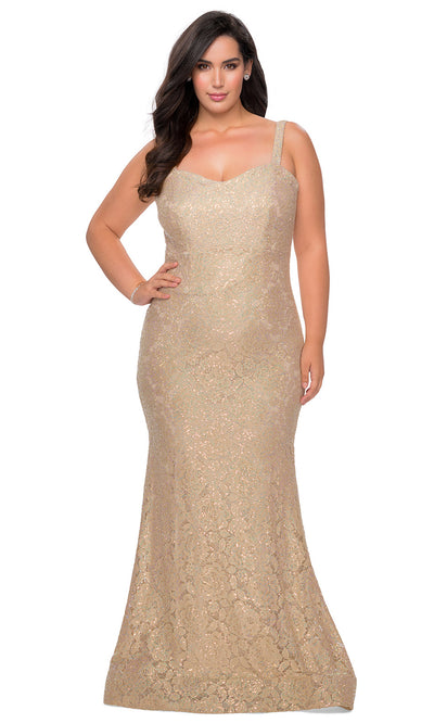 La Femme - 28798 Sweetheart Rhinestone Lace Mermaid Dress In Champagne & Gold
