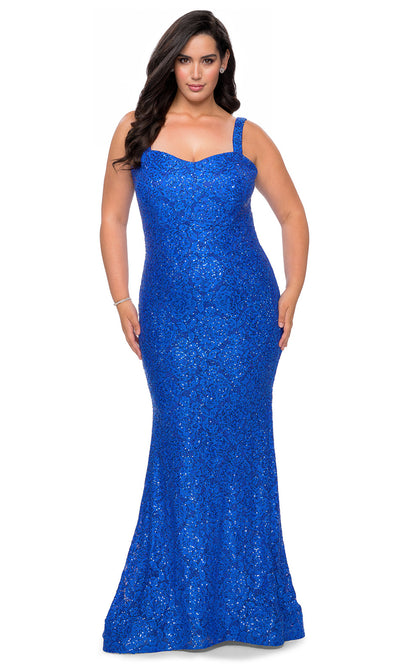La Femme - 28798 Sweetheart Rhinestone Lace Mermaid Dress In Blue