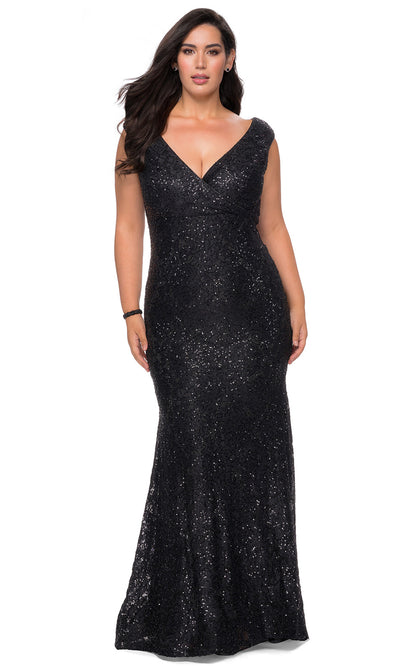 La Femme - 28837 Glimmer Stretch Knit Lace Sheath Evening Gown In Black