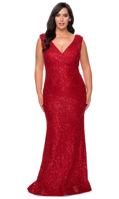 La Femme - 28837 Glimmer Stretch Knit Lace Sheath Evening Gown In Red