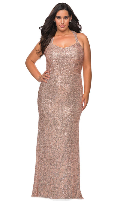 La Femme - 28842 Full Sequin Crisscross Strap Back Evening Gown In Champagne & Gold