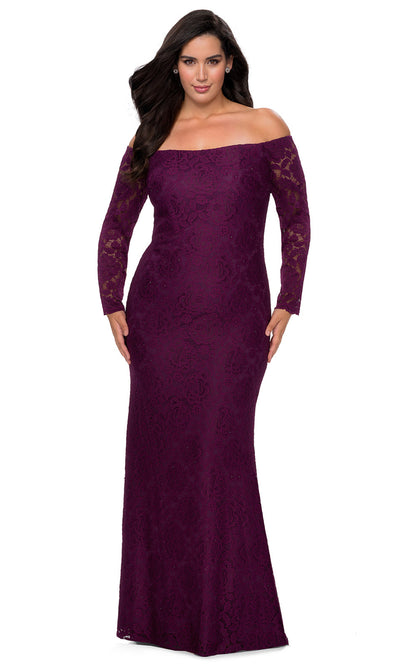 La Femme - 28859 Floral Lace Off Shoulder Long Sleeve Evening Gown In Purple