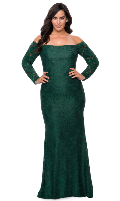 La Femme - 28859 Floral Lace Off Shoulder Long Sleeve Evening Gown In Green