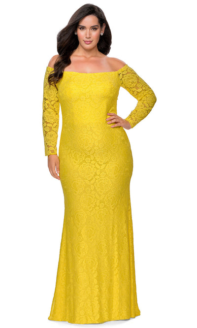 La Femme - 28859 Floral Lace Off Shoulder Long Sleeve Evening Gown In Yellow