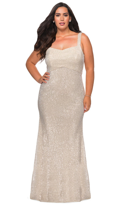 La Femme - 28875 Long Sequin-Ornate Sheath Dress In Champagne & Gold