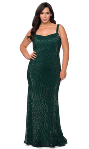 La Femme - 28875 Long Sequin-Ornate Sheath Dress In Green