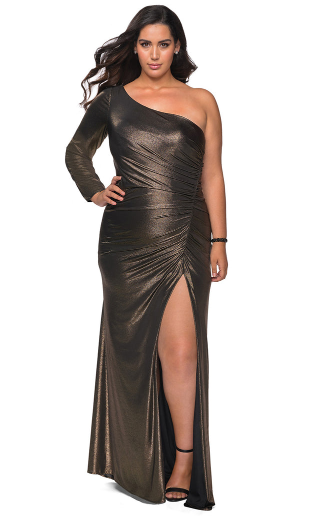 La Femme - 28878 Shirred Metallic One Shoulder High Slit Dress In Black