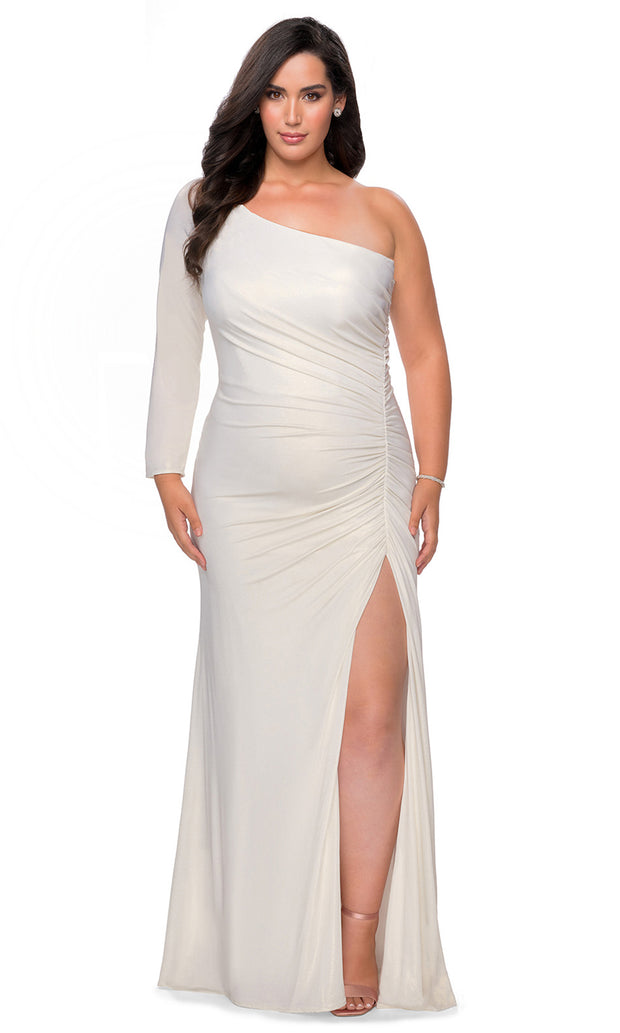 La Femme - 28878 Shirred Metallic One Shoulder High Slit Dress In White