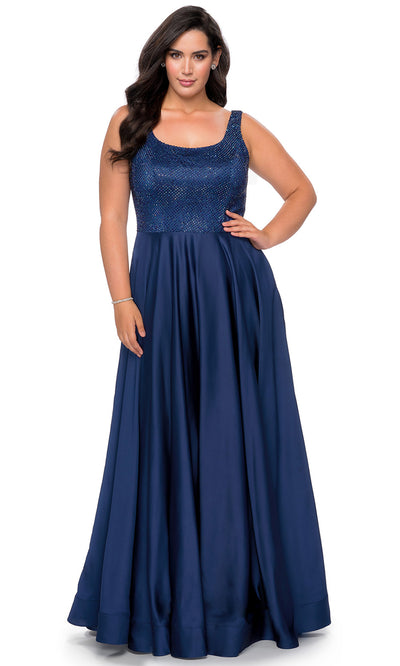 La Femme - 28879 Rhinestone Scoop Neck High Slit Dress In Blue