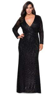 La Femme - 28880 Sequined Deep V Neck Fitted Dress In Black