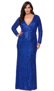 La Femme - 28880 Sequined Deep V Neck Fitted Dress In Blue