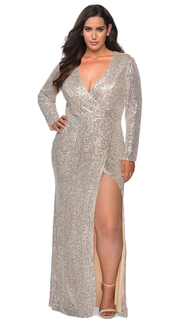 La Femme - 28880 Sequined Deep V Neck Fitted Dress In Silver