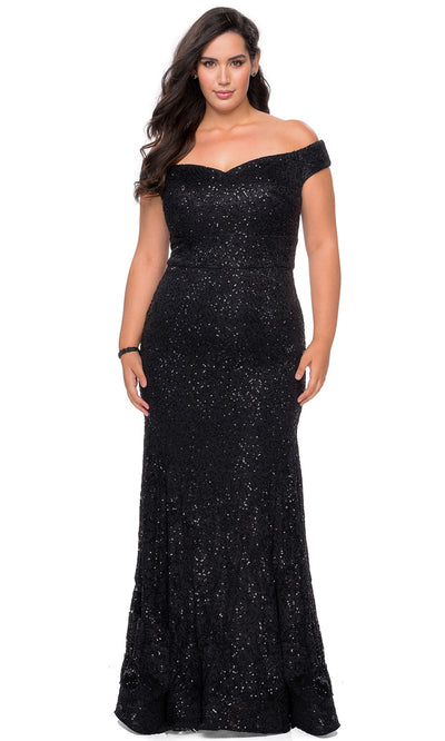 La Femme - 28883 V Neck Off Shoulder Full Lace Mermaid Evening Dress In Black