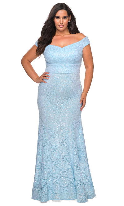 La Femme - 28883 V Neck Off Shoulder Full Lace Mermaid Evening Dress In Blue