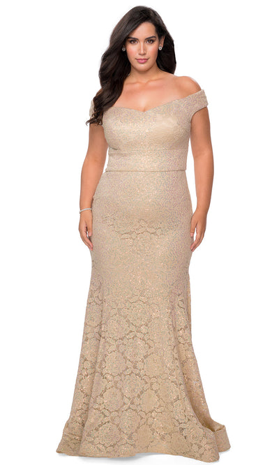 La Femme - 28883 V Neck Off Shoulder Full Lace Mermaid Evening Dress In Champagne & Gold