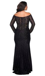 La Femme - 28945 Lace Off Shoulder Trumpet Dress In Black