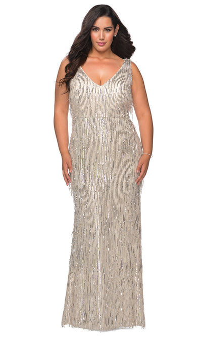La Femme - 28946 Sequined Plunging V Neck Fitted Dress In Silver