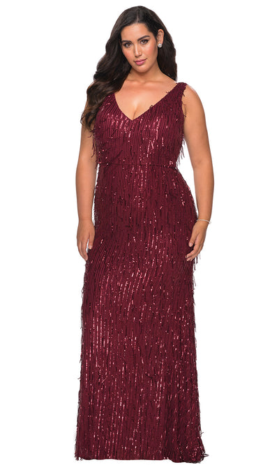 La Femme - 28946 Sequined Plunging V Neck Fitted Dress In Red