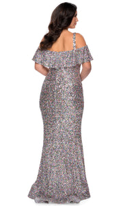 La Femme - 28947 Cold Shoulder Sequin Trumpet Dress In Multi-color