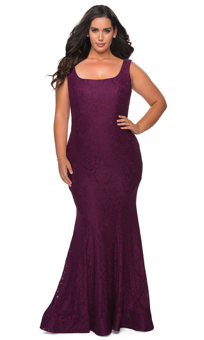 La Femme - 28948 Lace Square Neck Trumpet Dress In Purple