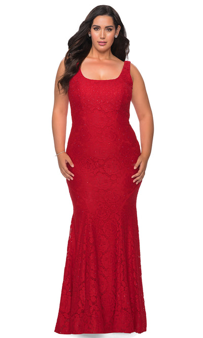 La Femme - 28948 Lace Square Neck Trumpet Dress In Red