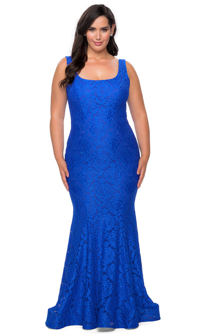 La Femme - 28948 Lace Square Neck Trumpet Dress In Blue