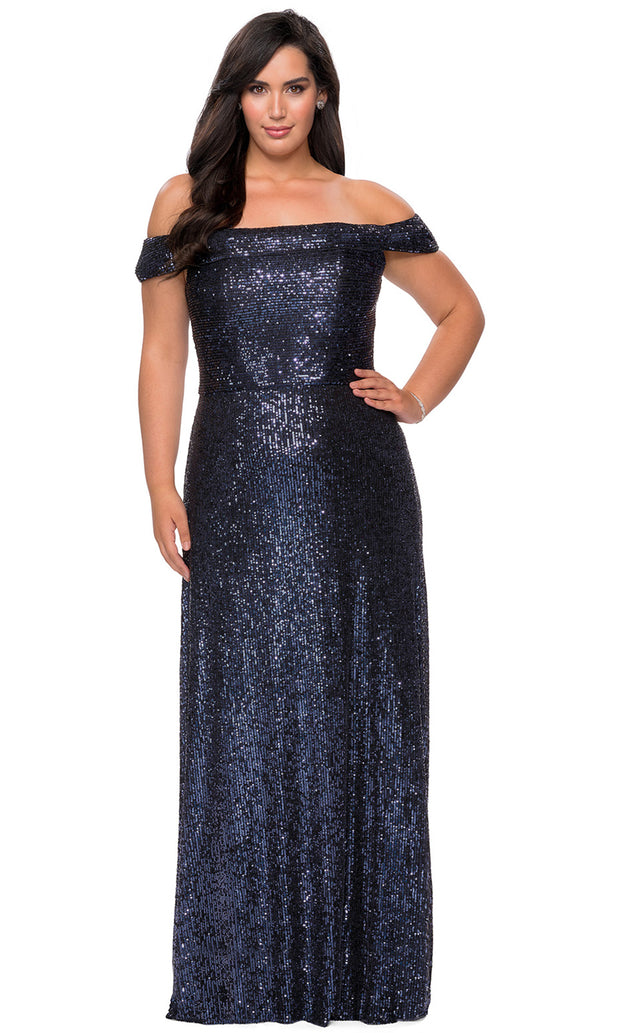La Femme - 28988 Foldover Off Shoulder Long Sequined Dress In Blue
