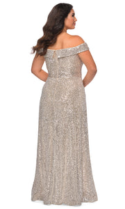 La Femme - 28988 Foldover Off Shoulder Long Sequined Dress In Silver & Gray