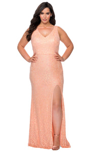 La Femme - 29001 Sleeveless Sequined High Slit Dress In Coral & Orange