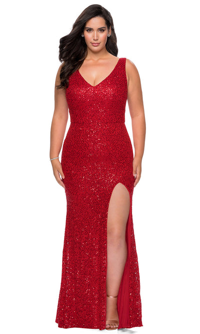 La Femme - 29001 Sleeveless Sequined High Slit Dress In Red