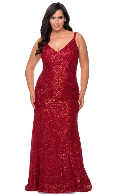 La Femme - 29006 Sleeveless Sequined Sheath Dress In Red
