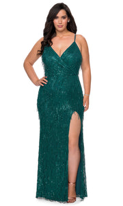 La Femme - 29013 Sleeveless V Neck Fringe Sequin Fitted Evening Gown In Green