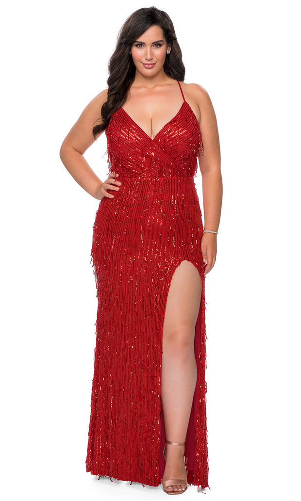 La Femme - 29013 Sleeveless V Neck Fringe Sequin Fitted Evening Gown In Red
