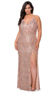 La Femme - 29013 Sleeveless V Neck Fringe Sequin Fitted Evening Gown In Champagne & Gold