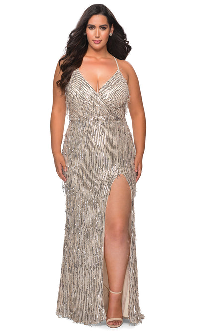 La Femme - 29013 Sleeveless V Neck Fringe Sequin Fitted Evening Gown In Silver & Gray