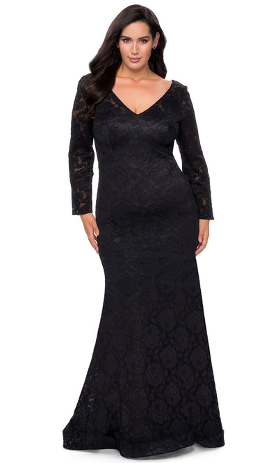 La Femme - 29017 V Neck Long Sleeves Mermaid Dress In Black