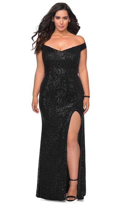 La Femme - 29023 Chevron Cutout Back Full Sequin Evening Gown In Black