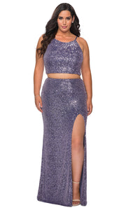 La Femme - 29026 Two Piece Sequined Halter Fitted Dress In Purple
