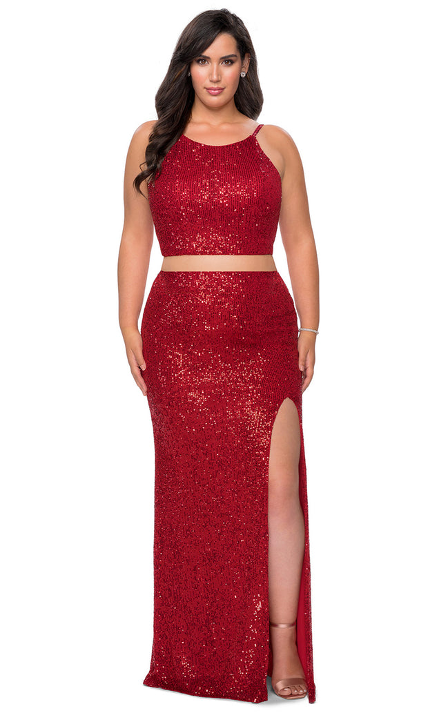La Femme - 29026 Two Piece Sequined Halter Fitted Dress In Red