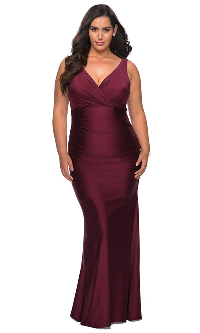 La Femme - 29028 V Neck Fitted Trumpet Dress In Purple